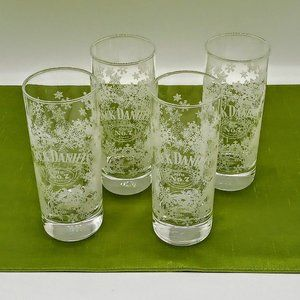 Set of 4 Jack Daniels Old No. 7 Etched Snowflake Highball Glasses